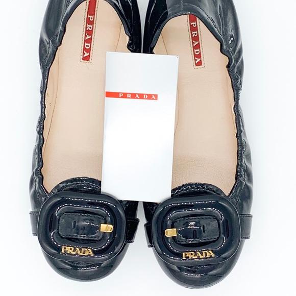 Prada Vernice Soft Black Patent Flats